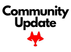 community update in black letter with red fox logo